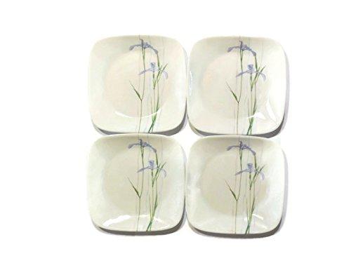 "Corelle Dinnerware Dessert Plates Set Square Shadow Iris 65"" Set of 4 Top Kitchen Gifts For Moms Women Wife Friend Girlfriend Grandma Daughter"