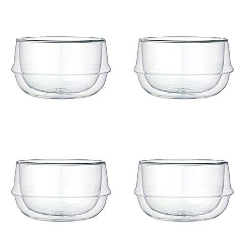 KINTO KRONOS Double Wall Glass Soup Bowl 112 Oz Set of 4
