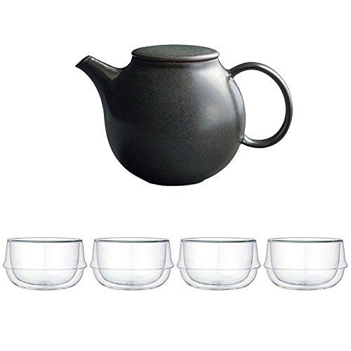 KINTO Pebble Black Porcelain Teapot and Four KRONOS Double Wall Glass Soup Bowl Set of 5