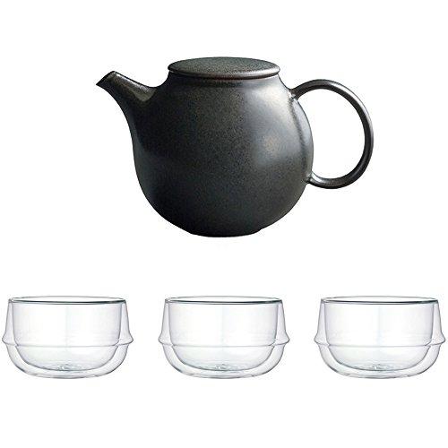 KINTO Pebble Black Porcelain Teapot and Three KRONOS Double Wall Glass Soup Bowl Set of 4