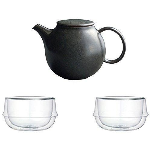KINTO Pebble Black Porcelain Teapot and Two KRONOS Double Wall Glass Soup Bowl Set of 3