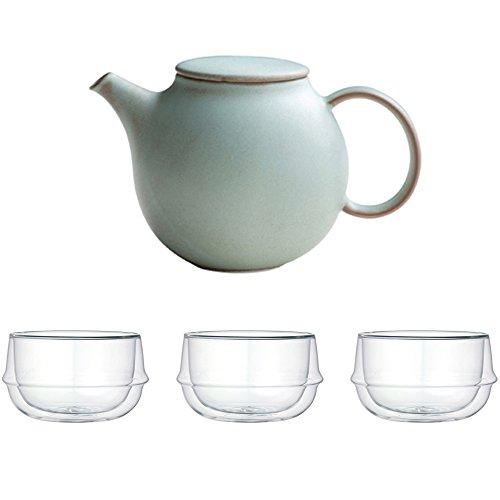 KINTO Pebble Moss Green Porcelain Teapot and Three KRONOS Double Wall Glass Soup Bowl Set of 4