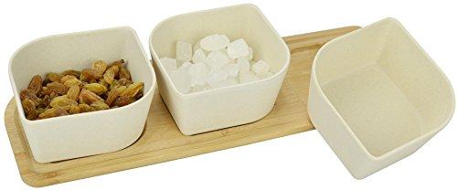Surpahs Bamboo Fiber Snacks Serving Bowl Set w Bamboo Tray
