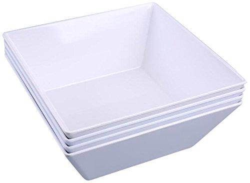 SHALL Housewares 677095W S4 Square Salad Bowl 90 oz White