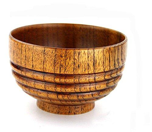 Hfkm Handmade Carving Non-slip Children Wooden Bowl Japanese Style Rice Soup Bowl