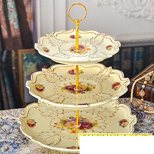 Ceramic Fruit BowlThree-tier Dessert TrayCake PanDried Fruit TrayCandy Plate-D