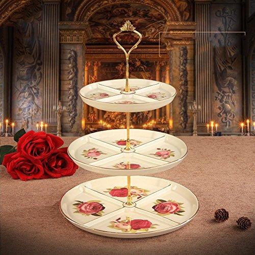 Creative Three-tier Dessert TrayEuropean Style Cake StandCeramic Fruit Bowl-A