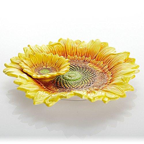 ceramic fruit bowl bread two dippingSun flower sunflower