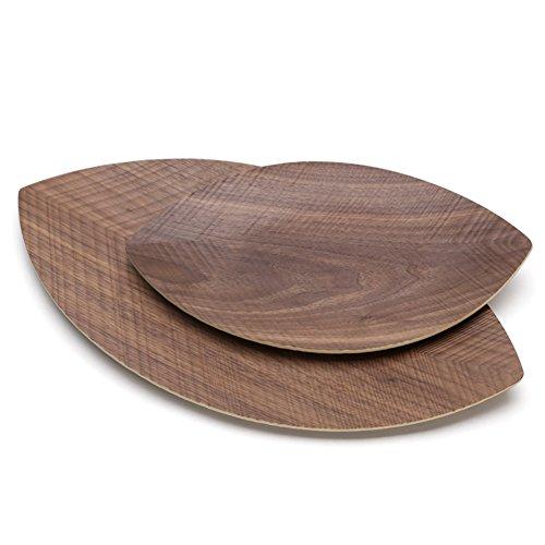 Modern solid wood bowls creative leaf-shaped fruit candy seed-box-F