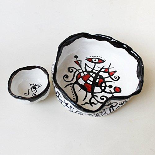 Ceramic abstract bowls set handpainted bowl Miro inspired handmade pottery serving bowls