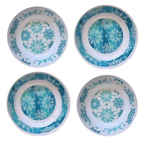 10 Melamine Serving Bowl Snowflake Design White Blue 4 Bowls