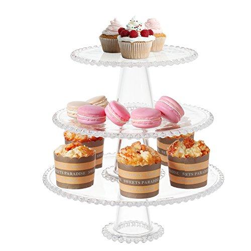 3-Tier Vintage Clear Glass Hobnob Design Dessert Display Stand Cupcake Serving Platter Tray