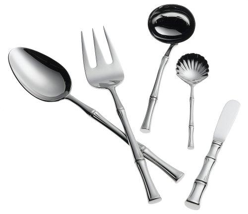 Ricci Bamboo 5-Piece Stainless-Steel Flatware Hostess Set