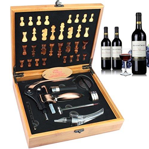 YOBANSA Bamboo Box Wine Accessories Gift SetRabbit Wine Corkscrew OpenerWine Opener Play Chess SetWine StopperWine Aerator PourerOrange07