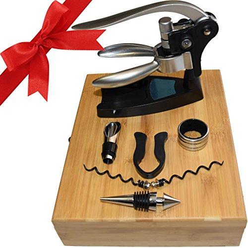 Vino Estate Rabbit Wine Opener 7-Piece Bamboo Box Set