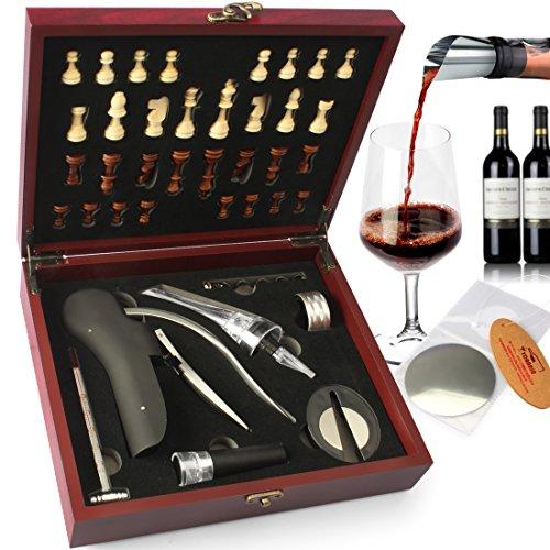 YOBANSA Wooden Box Wine Opener Play Chess Set Rabbit Wine Opener CorkscrewWine Accessories Set Waiters Corkscrew Wine Aerator Pourer Vacumm Stopper Set Red0A