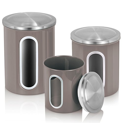 MLO E-CO Canisters Sets for Tea Coffee Sugar Food Canisters with Airtight Lids 3-Piece Set Grey