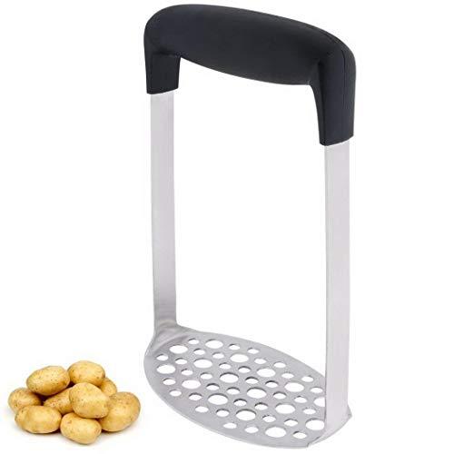 Oguine Potato Masher Non-slip Heat-resistant PP Handle Stainless Steel Black Silver Potato Masher Mashed Potatoes Tool