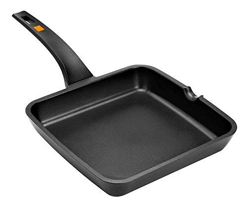 Braisogona A271328 Efficient Aluminium Square Grill Pan with Handle 28 cm Cast Black