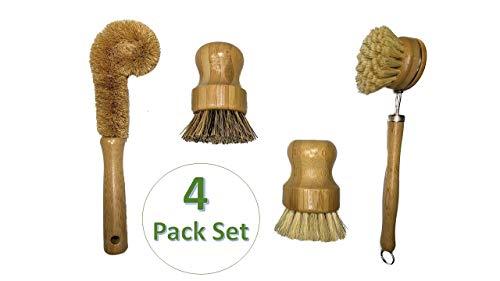 Natural Bamboo Kitchen Scrub Brush 4 Pack Set  Zero waste cleaning for DishesPotsBottlePansSkilletVegetablesSinkDishwasher  Eco Friendly Handle Brush with dense bristles