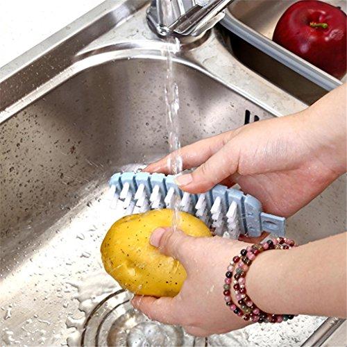 WensLTD Kitchen Gadgets Vegetable Fruit Brush Potato Easy Cleaning Tools Veggie Scrubber Pink