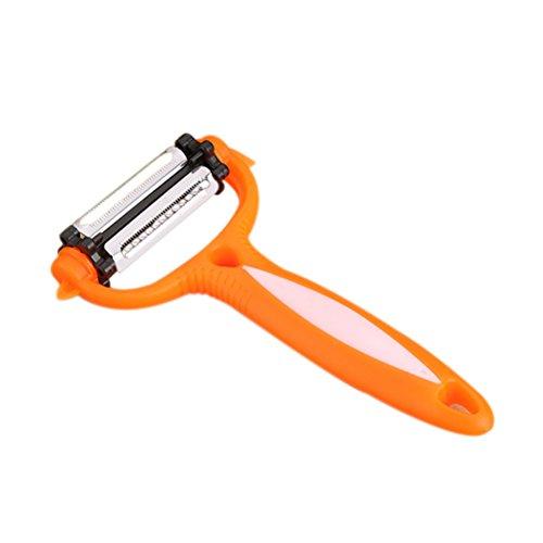 BEST ON ZON Stainless Steel Julienne Peeler for Vegetable Potato Shredder Slicer Cutter Home Kicthen Orange