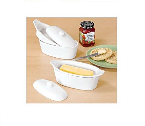 Old Home Kitchen Butter Keeper Porcelain Butter Boat White