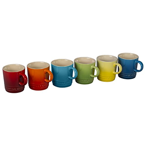 Le Creuset 6 Piece Colorful Stoneware 35 Ounce Petite Espresso Mug Set Rainbow Assortment Colors