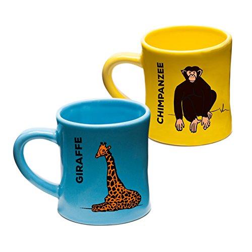 Wildini BittyMugs GiraffeChimpanzee - Toddler Coffee Mugs 4oz Ceramic BPA FREE Baby Mug Montessori Preschool Mug Childrens Cup Animal Mug Hot Chocolate Mug Set Espresso Mug Gift for Kids