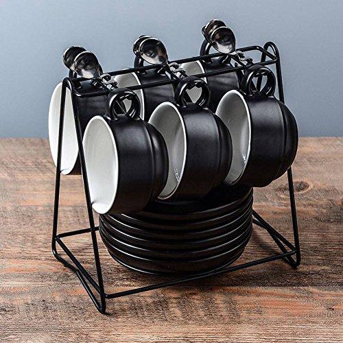 Yosou Home Americano Coffee Bar Espresso Mugs and Saucers Set 6-Ounce Set of 612 PiecesBlack
