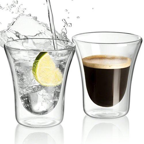 Jecobi Double-Wall Insulated Coffee Mug Glass Tea Espresso Cups Set of 2 - 85-Ounce