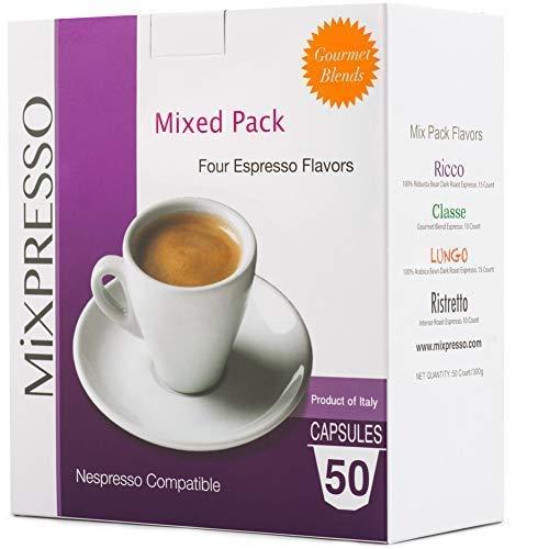 Mixpresso Variety Pack Single Serve Espresso Coffee Pod Capsules For Nespresso OriginalLine Machines 50 Ct