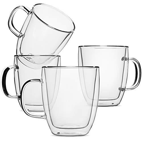 BTäT- Insulated Coffee Mug Coffee Glass Set of 4 16oz 500ml Double Wall Glass Coffee Cups Tea Cups Latte Cups Glass Coffee Mug Beer Glasses Latte Mug Clear Mugs Glass Cups Glass Tea Mugs