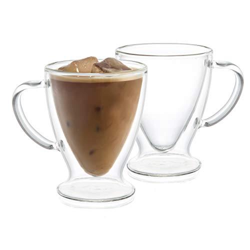 JoyJolt Declan Irish Double Wall Insulated Glass Coffee Cups Set of 2 -10-Ounces