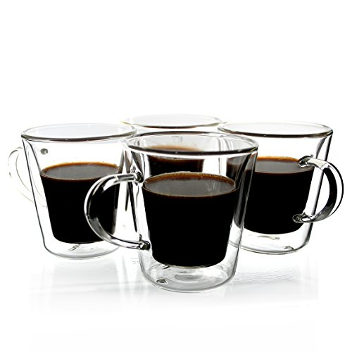 Janazala Espresso Cups Shot Glass Set of 4 Double-Wall Insulated Glass Coffee Cups Borosilicate Glass Model TRAPEZIO 35 oz 100 mililiter
