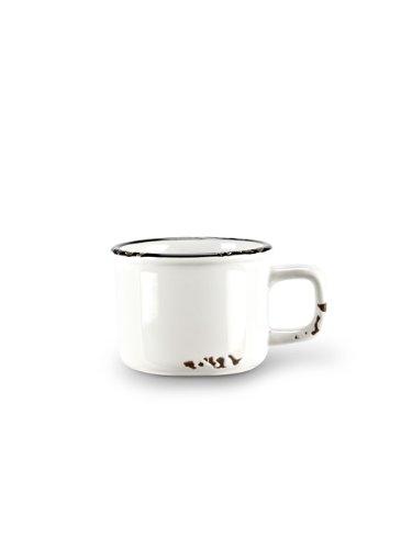 Set 6 pcs 2 White Stoneware Enamel-Look Vintage-Style Espresso Demitasse Cups