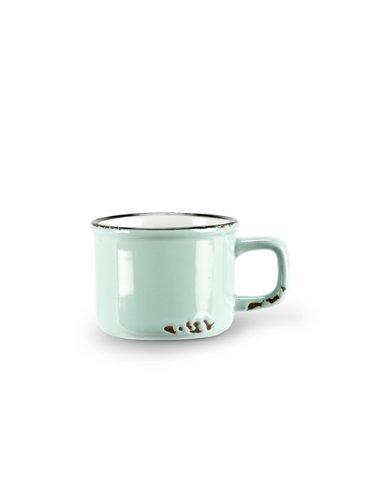Set 6 pcs Baby Blue Stoneware Enamel-Look Vintage-Style Espresso Demitasse Cups