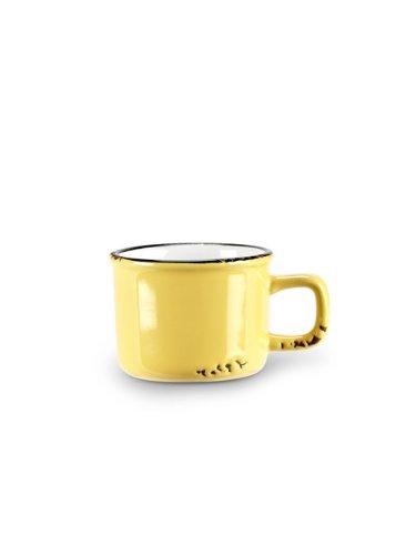 Set 6 pcs Yellow Stoneware Enamel-Look Vintage-Style Espresso Demitasse Cups