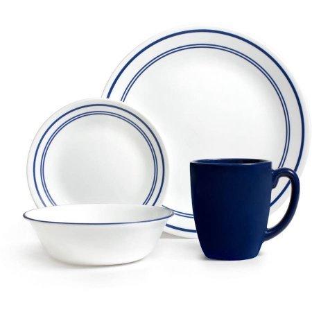 Corelle Livingware 32-Piece Dinnerware Set Classic Cafe Blue Service for 8 Two 16-Piece Sets