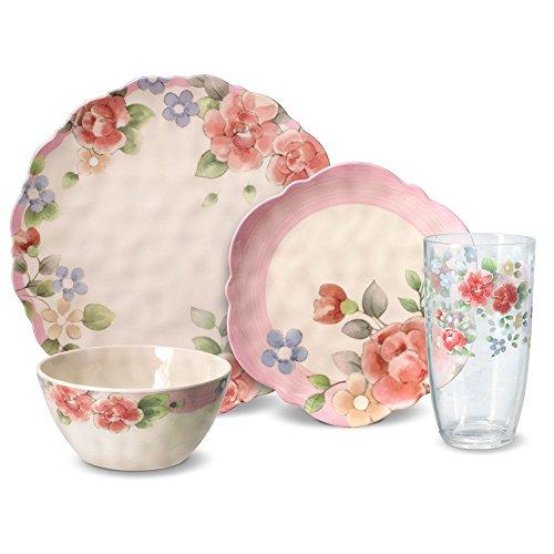Pfaltzgraff Tea Rose Melamine Outdoor Dinnerware Set 32 Piece