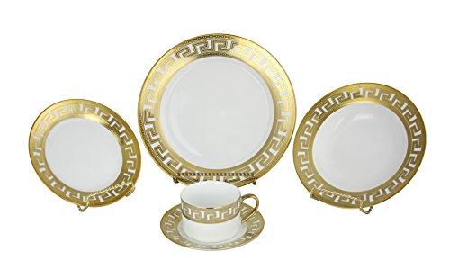 Greek Key Gold Elegant 40 Piece Dinnerware Set
