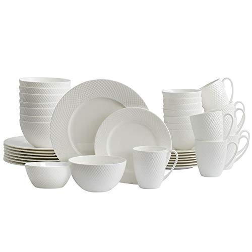 Mikasa Stanton 40 Piece Dinnerware Set Service for 8 White
