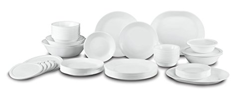Corelle Livingware 74 Piece Dinnerware Set with Storage Lids Service for 12 White