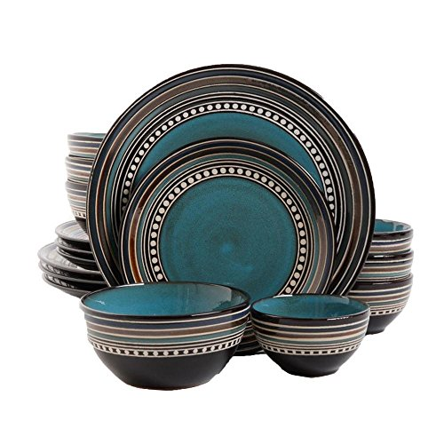 Gibson Elite Café Versailles 16 Piece Double Bowl Dinnerware Set Blue