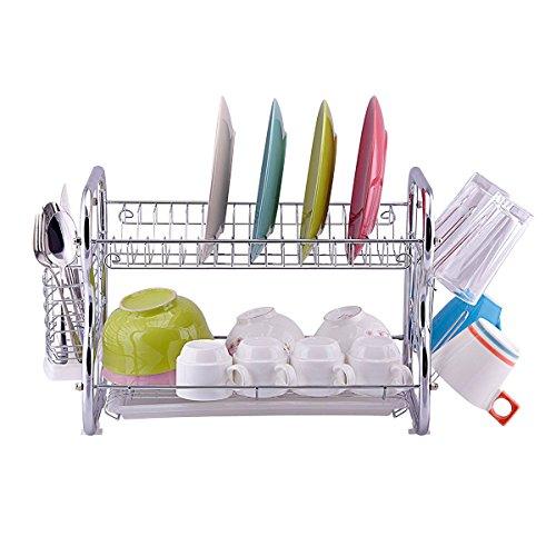 Toplife 2 Tier Chrome Kitchen Dish Drainer Drying Rack