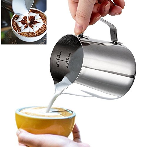 Milk Pitcher gloednApple Stainless Steel Milk Frothing Jug Coffee Pitcher Latte Art Craft with Measurement Markings 350ml