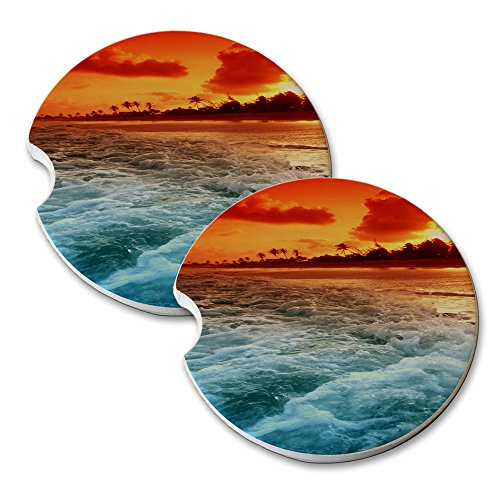 Ocean Beach Red White Blue Car Coaster - Car Coaster Set Round Sandstone Coasters