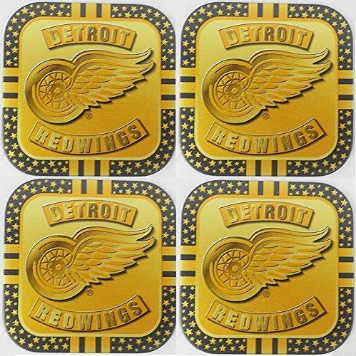 4 Detroit Red Wings NHL Licensed Gold Metal Drink Coasters