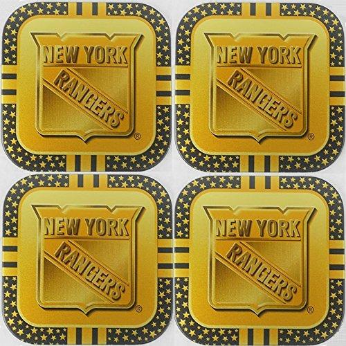 4 New York Rangers NHL Licensed Gold Metal Drink Coasters