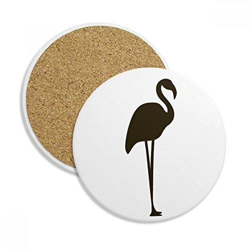 Black Flamingo Cute Animal Portrayal Ceramic Coaster Cup Mug Holder Absorbent Stone for Drinks 2pcs Gift